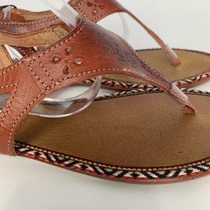 Maya Boho style leather hand tooled sandals